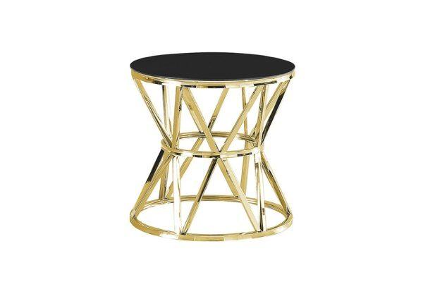 Журнальный стол ВИВА золото стекло черное купить в салоне-студии мебели Барселона mnogospalen.ru много спален мебель Италии классические современные