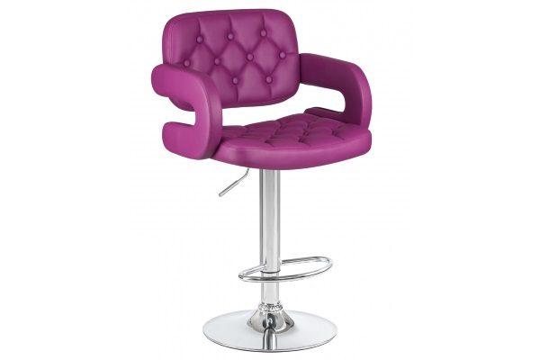 Стул барный TIESTO, цвет сиденья фиолетовый, цвет основания хром купить в салоне-студии мебели Барселона mnogospalen.ru много спален мебель Италии классические современные